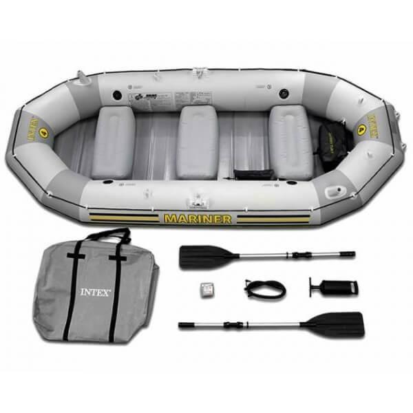 Intex,Mariner 4 Person Inflatable Boat Fishing, Aluminium Oards And Hand  Pump Accessory - 68376, Grey $424 33