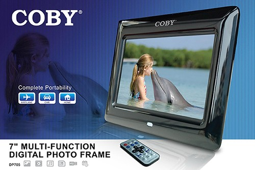 Coby Digital Photo Frame 7 Inch With Remote Clock Calendar Alarm