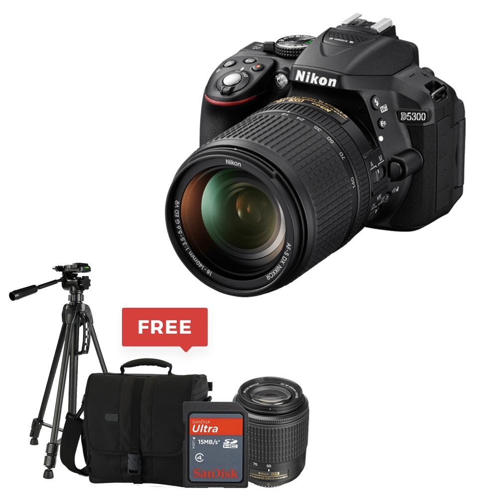 Nikon D5300 Dx Format Digital Slr Kit W 18 55mm Vr Ii And 55 200mm Af P Lens Black With Free Tripod Sd Card 16 Gb Bag