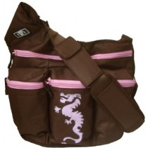 Diaper Dude, Stamped Messenger I DIVA BROWN WITH PINK ZIP DRAGON