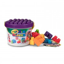 Crayola, Work Learn and Play 25pc Bucket of Blocks with BONUS 3 Crayons and Peel and Stick