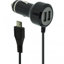 Case Logic Car Charger (2 x USB Ports, Integrated micro-USB Cable), Black