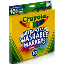Crayola, Ultraclean Broadline Bright, 10 Pieces