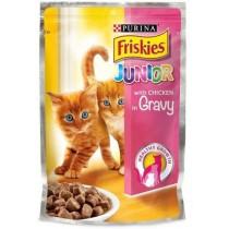 Friskies, Junior Cat Chicken Pouch 100G, Pack of 6