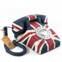 GPO Vintage British Union Flag Rotary Push Button Telephone