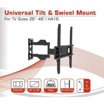 Conqueror Articulating Stand for LED / LCD / Plasma TV 26''-46'', Wall Mount