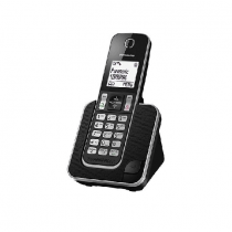 Panasonic Cordless Phone DECT, 120 Name & Number Phone Book, Black - KXTGD310BXB