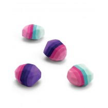 Mustard, Rainbow Striped Rock Shaped Erasers, Pack of 4