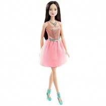 Barbie Glitz Doll, Coral Dress, Brunette