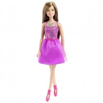 Barbie Glitz Doll, Purple Dress, Tanned