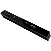 Promate Ultra-Slim 2.4Ghz Wireless Presenter with Built-in Red Laser Pointer and USB Receiver, Black