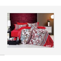 Home Design, Bed Set, 100 percent Cotton, King/Double/Single Red Arabesque