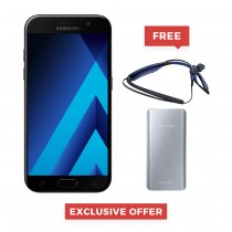 "Samsung Galaxy A5 2017 Dual Sim ,5.2"" sAmoled, 32GB, 3GB RAM, 4G LTE, Gold, Black, Blue, Pink - SM-A520 With FREE Power Bank + Level U Headset"