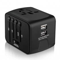 Universal Travel Adapter, Iron-M All-in-one International Travel Charger with 2.4A Dual USB, Worldwide Travel Power Adapter Plug Wall Charger, Black, - ITC001K