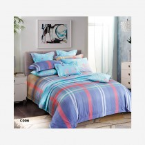 Home Design, Bed Set, 100 percent Cotton, King/Double/Single Blue Scottish Pattern
