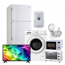 Hyundai, Refrigerator 20 FT + Water Dispenser 5L + Electric Oven 48L + Microwave Oven 22L + Food Processor 1000W + Washing Machine 7k load + LED TV 32