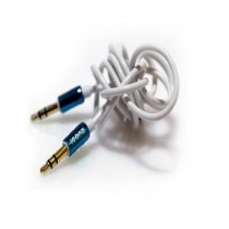 ICONZ Rubberized Jack AUX Cable with Chrome plug 1 m- Blue