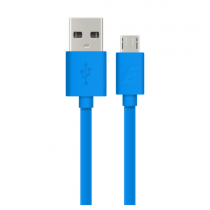 ICONZ Flat micro USB Cable 1.2 m rubberized finishing-Blue