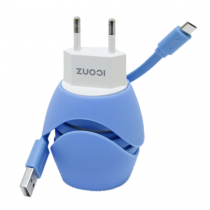 Iconz Universal Stylish Dual USB Wall Charger, Blue