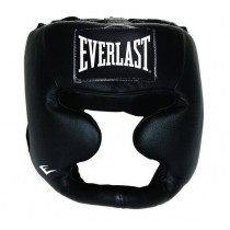 Everlast Leather Full Protection Headgear, Black