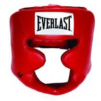 Everlast Leather Full Protection Headgear, Red
