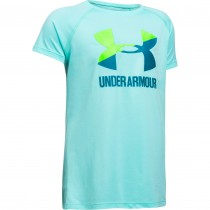 Under Armour Girls Training Solid Big Logo Tshirt- Blue