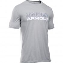 Under Armour, Men Cotton Wordmark Stack, True Gray Heather
