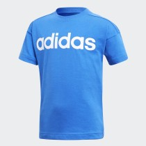 Adidas Boy's Training Linear Tee Tshirt- Blue& White