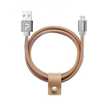 Powerology 1m Leather Lightning Cable - Brown