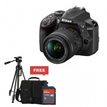 Nikon D3400 w/ AF-P DX NIKKOR 18-55mm f/3.5-5.6G VR - Black With FREE Tripod, SD Card 16 GB & Bag