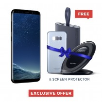 "Samsung Galaxy S8 Single / Dual Sim 5.8"" Quad HD+ sAmoled, 64GB, 4GB RAM, 4G LTE, Gold, Black, Orchid Grey - SM-G950 With FREE Power Bank, Wireless Charger, Cover, Screen protector"