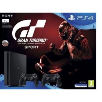 Sony Playstation 4, 1 TB, With 2 Controllers and Grand Tursmo Sport, Black
