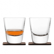 Lsa, Whisky Arran Tumbler, With A Set Of 2 Walnut Coasters, 250 Ml, Clear