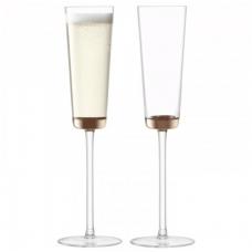 Lsa, Edge Champagne Flute, Set Of 2 Glasses, 160 Ml, Rose Gold