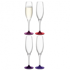 Lsa, Coro Champagne Flute, Set Of 4 Glasses, 225 Ml, Berry Assorted