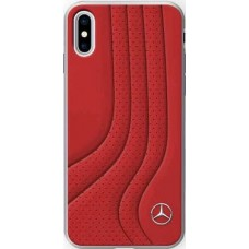 Mercedes-Benz New Bow II Genuine Leather Hard Case for iPhone X - Red