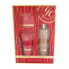 Grace Cole Wild Fig & Cranberry- Eternal Elegance Gift Set, Foam Bath 250ml , Body Cream 150ml , Bar Soap 100g