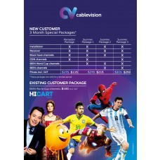 Cablevision TV 3 Months Subscription, 4 Packages Available