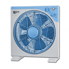 Wave Box Fan 12 Inch Timer, White & Gray