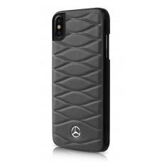 Mercedes-Benz Pattern III Genuine Leather Hard Case for iPhone X - Dark Gray