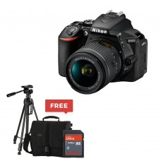 Nikon D5600 DX-format Digital SLR w/ AF-S DX NIKKOR 18-55mm f/3.5-5.6G ED VR With FREE Tripod, SD Card 16 GB & Bag