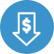 Dollar icon inside arrow pointing downwards